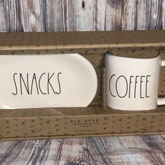 Rae Dunn coffee mug and snacks plate