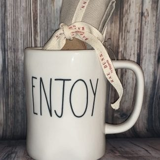 Rae Dunn ENJOY mug and tea towel set