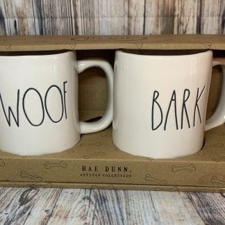 Rae Dunn WOOF / BARK Mug set