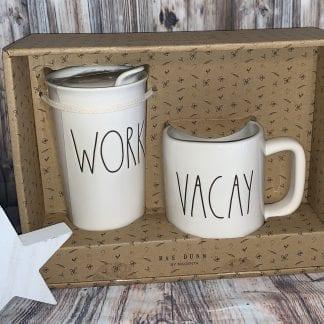 Rae Dunn Work and Vacay mug set