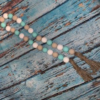 Teal grey white wood bead garland