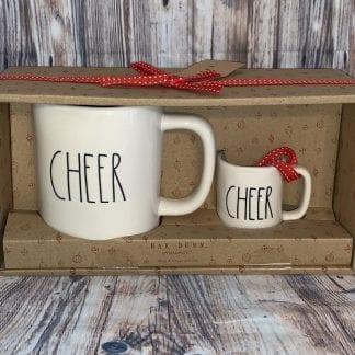 Rae Dunn cheer mug and mini mug set