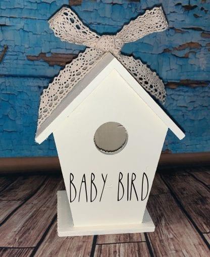Rae Dunn inspired baby bird wooden birdhouse