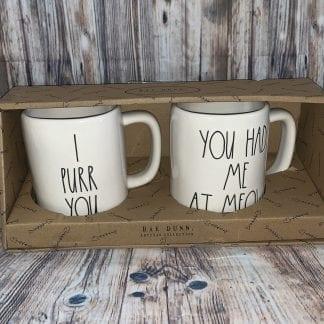Rae Dunn Purr Meow cat mug set