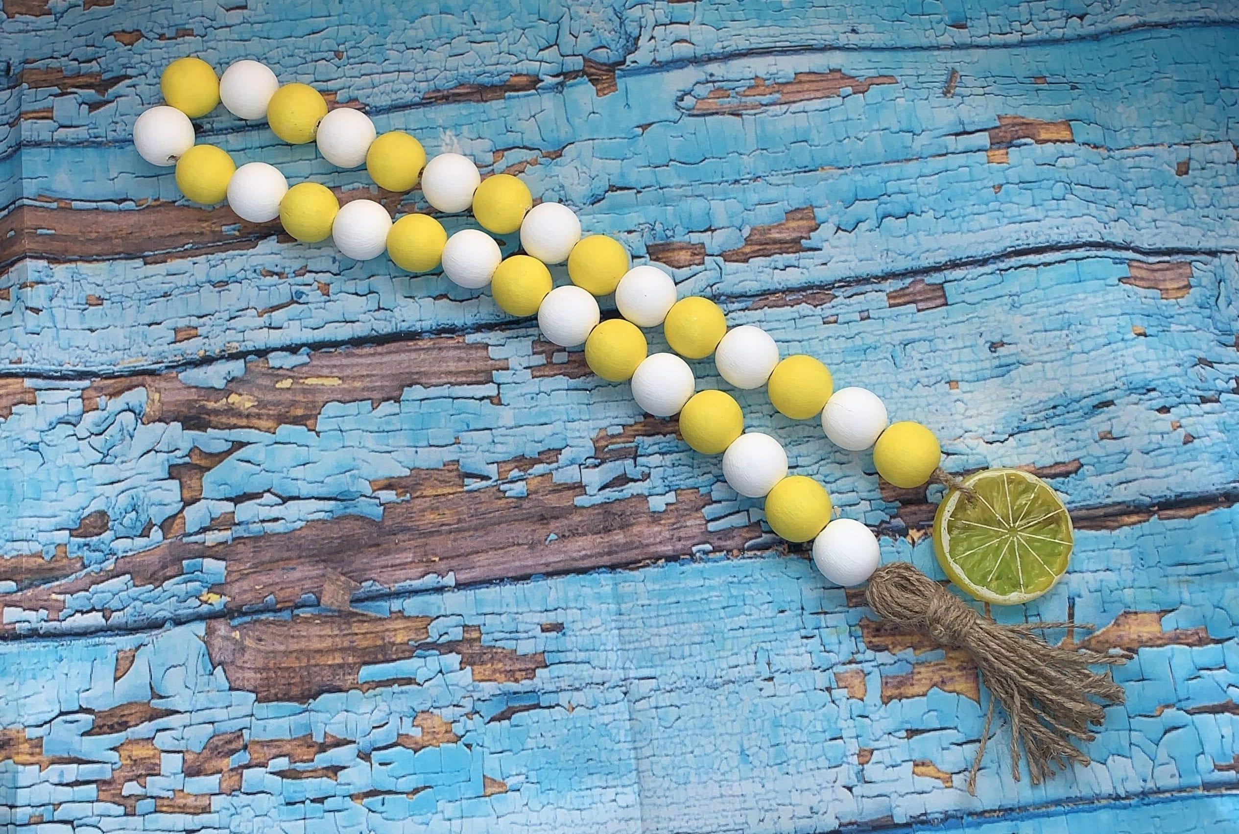 Yellow And White Lemonade Wood Bead Garland Buy Rae Dunn
